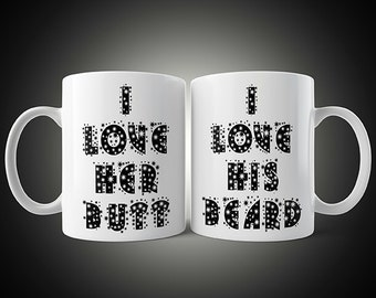 His And Her I Love His Beard, I Love Her But Mugs (M62)