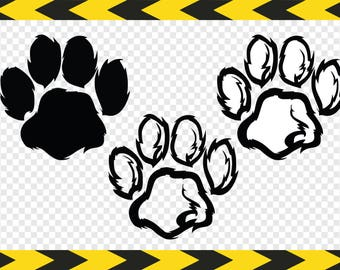 Paw print SVG Decal Clipart Cuttable designs Cut files for Silhouette Cricut DXF PDF Png