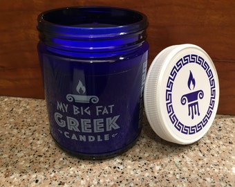 9 oz Cobalt BLUE JAR CANDLE/Lid. All Natural Soy Wax. You Pick Your Scent- Made To Order !!!!!