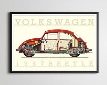 "1967 Volkswagen Beetle POSTER! - Full Size (24"" x 36"") or smaller - VW Bug - Vintage Cars - Custom Prints - Original - Repurposed"