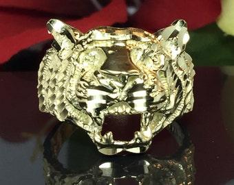 BIG 10k solid gold Men Tiger ring - men Gold Pinky Ring - Men's Zodiac Sign Ring - Mens Gold Ring - Cool Men's Ring