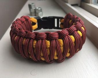 King Cobra Paracord Bracelet for Men that's Licorice and Goldenrod