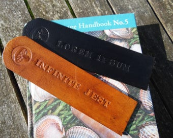 Small leather bookmark. Customisable