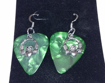 Claddaugh Guitar Pick Earrings