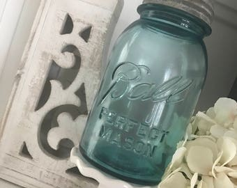 "Vintage Ball Perfect Mason Jar  ""Aqua"""