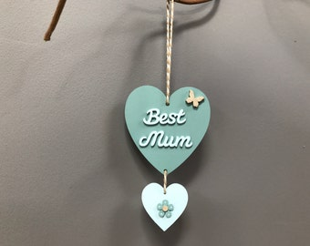 Blue green Mother's Day hanging heart