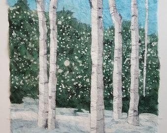 Aspens in Snow - Rice paper batik, Original watercolor batik, winter, snow, Colorado, Landscape, aspen trees, home decor, wall art