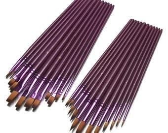 12 Pcs Fine Nylon Hair Paint Brushes