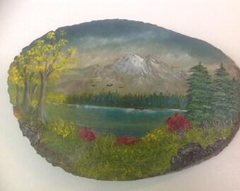 Vintage Landscape Oil Painting on Tree Slice / Slab