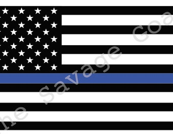 Police Flag Decal in Glossy Vinyl Sticker - BLUE, BLACK & WHITE