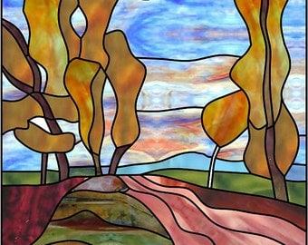 Blazing autumn. Stainedglass pattern