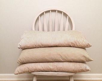 Vintage Ticking Stripe Farmhouse Pillow   Feather Stuffed