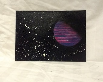 """5"""" x 7""""  Spray Paint space painting"""