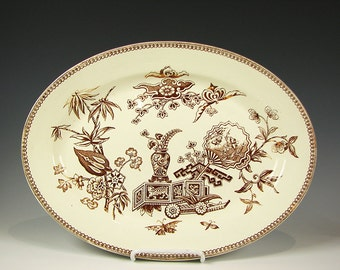 Antique Staffordshire English Pottery Aesthetic Period Brown Transferware Platter