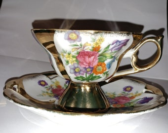 Gold accented cup and saucer