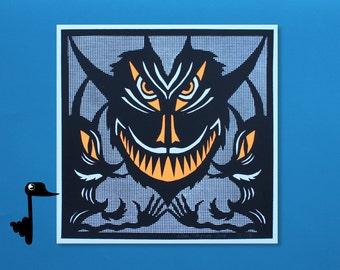 Halloween Devil's Mask - 2 Color Screenprint