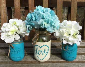 Mason Jar Centerpieces, Wedding Centerpieces, Shower Decor, Wedding Decor.