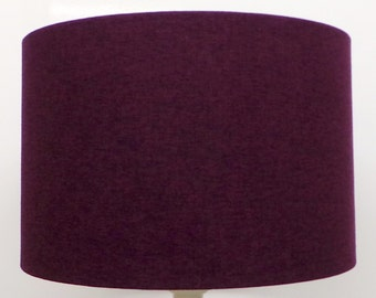 Shetland Damson Purple Brushed Linen Style Cylinder / Drum Lampshades / Pendant Shade / Table