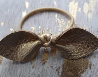 Genuine Leather | Gold Metallic | Propellor Hair Tie or Barrette clip