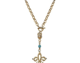 Gold Fleur De Lis with Crown Accent