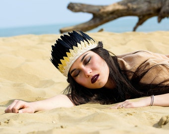 Boho feather crown with golden leafs