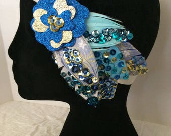 Bohemian Flapper Chic headban in blue/ gold