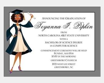 African American Graduation Announcement - Jade Natural | African American Party Invitation |  Graduation Party Invitation