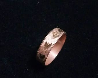 Copper signed etched ring, size 9.5