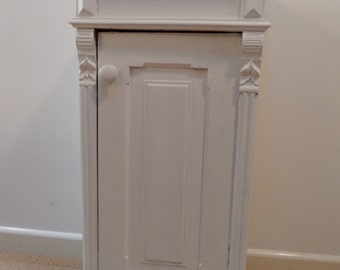 Vintage shabby chic painted French Pine Cupboard Lamp Table with a  removable shelf