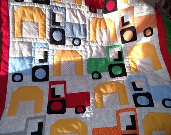 Barn and tractors baby quilt