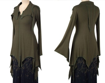 GREEN Pixie Style Rayon Tunic / Dresstop - S/M