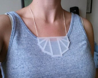 art deco acrylic laser cut necklace