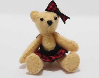 Felt Teddy Bear Dress  Check fabric for Blythe, Pullip, Dal...