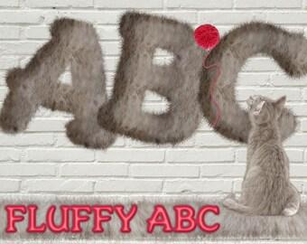 Fluffy alphabet clipart, cute cottony letters scrapbooking in PNG / Transparent alphabet FUR / Perfect plush