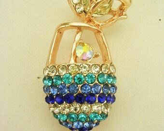 "Joan Rivers Crystal Wine Glass  Brooch  1 3/4""  Multi Color"