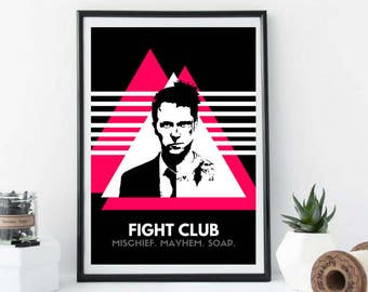 Fight Club Movie Poster, Tyler Durden Art, Quote, Black and White, Pink, Brad Pitt, Ed Norton, Contemporary, Modern, Wall Art, Home Decor