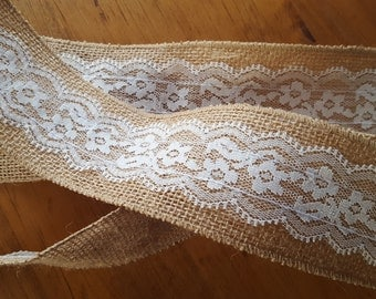 "Burlap and Lace Ribbon 2.5"" wide - By the yard"