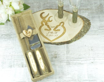 Rustic Wedding Set Unity Candle Champagne Glasses Cake Serving Cutter Burlap Rustic Decoration Flutes Unity personalized Knife Cutters