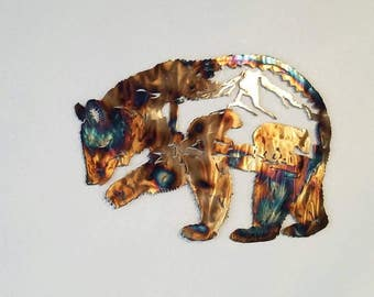 Metal Bear.  Grizzly. Large. Wall Decor.  Momma and cubs under mountain.  Black Brown bear wildlife  art.