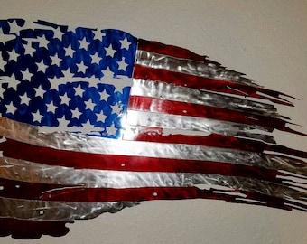 Huge Tattered Torn American Flag.  Wall Decor