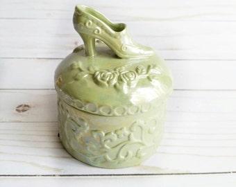 cinderella box cinderella shoe ceramic box jewelry box green jewelry box - Cinderella Wedding Ring