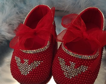 ON SALE . Bespoke, Bling, baby crib shoes,age 0-6 months  pre-walker, Romany,Red