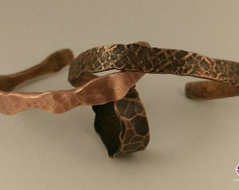 Hammered copper cuff bracelet, natural finish