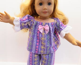 """American Girl Doll and Other 18"""" Doll Pajamas"""