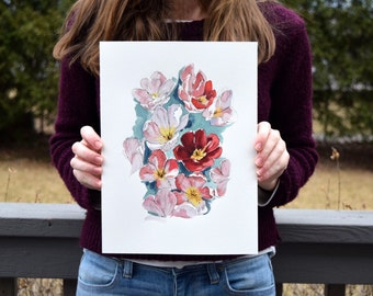 Pink Tulips - Watercolor Art Print