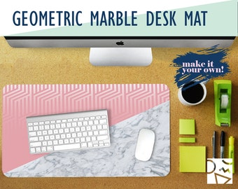 pink geometric and white marble desk mat optional monogram 2 sizes high quality