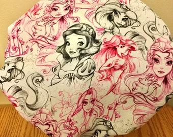 Disney Princess Drawings - Women's Surgical Scrub Hat, Bouffant Style, Pink