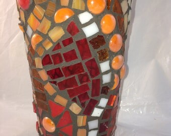 Mosaic Vase / Candleholder in Red, Orange and Yellow