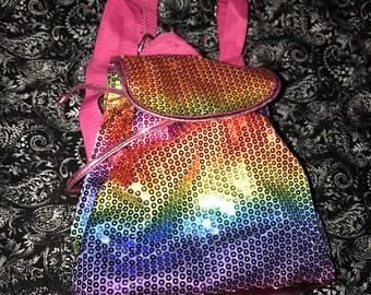 Rainbow glitter backpack