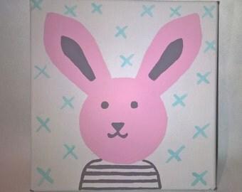 Pink rabbit acrylic painting